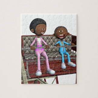 Cartoon Mother and Son on a Ferris Wheel Jigsaw Puzzle