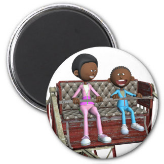 Cartoon Mother and Son on a Ferris Wheel Magnet