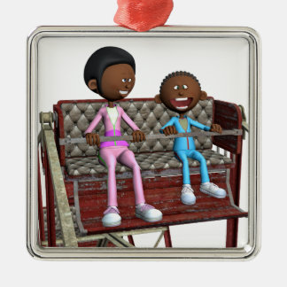 Cartoon Mother and Son on a Ferris Wheel Metal Ornament