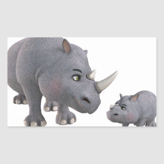 Cartoon mother and Son Rhino Rectangular Sticker