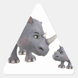 Cartoon mother and Son Rhino Triangle Sticker