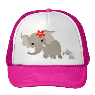Cartoon Mother Elephant and Calf Hat