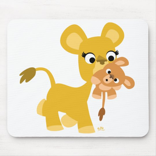 Cartoon Mother Lion and Cub mousepad