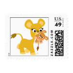 Cartoon Mother Lion and Cub postage stamp