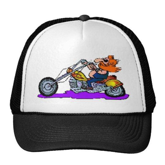 Cartoon Motorcyclist Trucker Hat