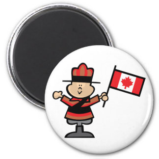 Cartoon Mountie 2 Inch Round Magnet