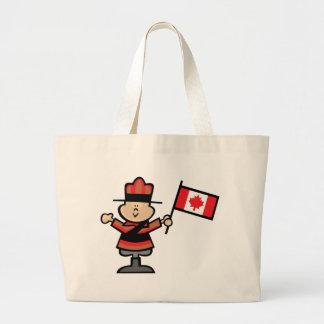Cartoon Mountie Large Tote Bag