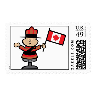 Cartoon Mountie Postage Stamps