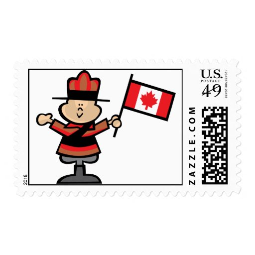 Cartoon Mountie Postage Stamps