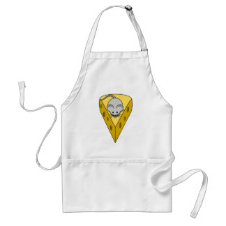 Cartoon Mouse on a Wedge of Swiss Cheese Adult Apron