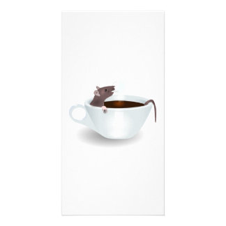 Cartoon Mouse Sitting in a Cup of Coffee Photo Card