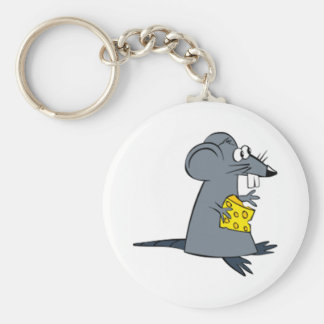 Cartoon Mouse with Cheese Keychain
