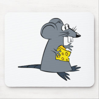 Cartoon Mouse with Cheese Mousepads
