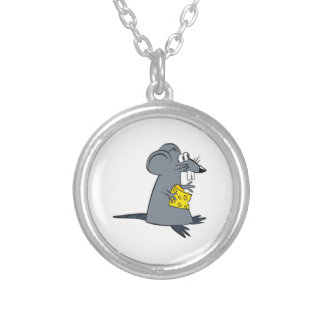 Cartoon Mouse with Cheese Silver Plated Necklace