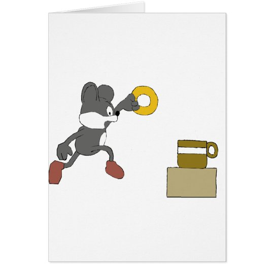 Cartoon Mouse With Coffee And Doughnut Card