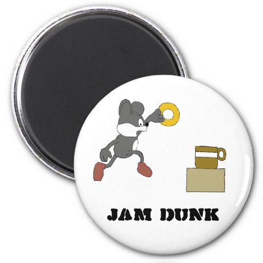 Cartoon Mouse With Coffee And Doughnut Fridge Magnet