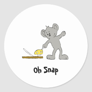Cartoon Mouse With Trap Classic Round Sticker