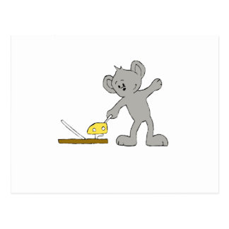 Cartoon Mouse With Trap Postcard