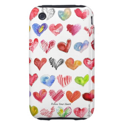 Cartoon Multicolor Hearts iphone 3G/3GS Case-Mate iPhone 3 Tough Cases