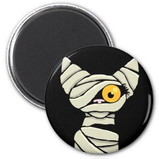 Cartoon Mummy Cat Halloween Novelty 2 Inch Round Magnet