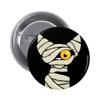 Cartoon Mummy Cat Halloween Novelty Pinback Button
