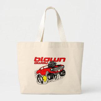 Cartoon Muscle Car Blown Away Large Tote Bag