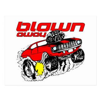 Cartoon Muscle Car Blown Away Postcard
