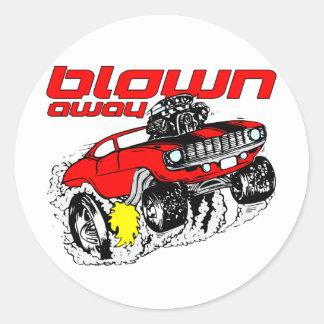 Cartoon Muscle Car Blown Away Round Sticker