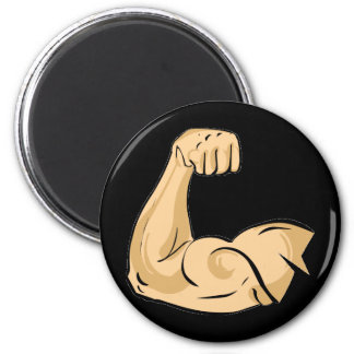 CARTOON MUSCLES MAN strong arm biceps athletic pow 2 Inch Round Magnet