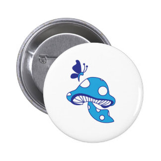 Cartoon Mushroom & Butterfly Button