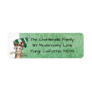 Cartoon Mushroom Christmas Return Address Label