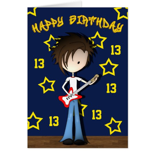 Cartoon Musician Emo Boy with Guitar Birthday Card