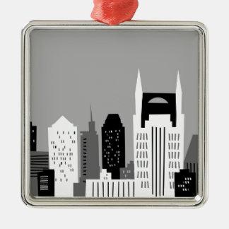 Cartoon Nashville Square Metal Christmas Ornament