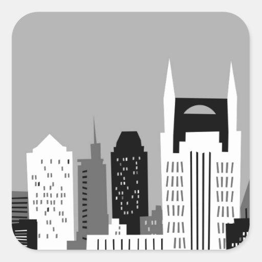 Cartoon Nashville Square Sticker