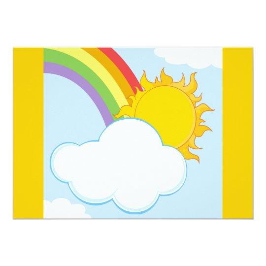 CARTOON NATURE SCENERY SUN HIDING BEHIND CLOUD CARD