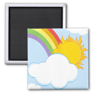 CARTOON NATURE SCENERY SUN HIDING BEHIND CLOUD MAGNET