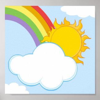 CARTOON NATURE SCENERY SUN HIDING BEHIND CLOUD PRINT
