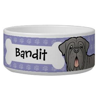 Cartoon Neapolitan Mastiff Dog Food Bowl