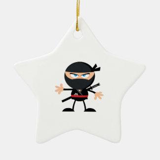 Cartoon Ninja Warrior Double-Sided Star Ceramic Christmas Ornament