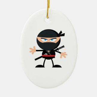 Cartoon Ninja Warrior Double-Sided Oval Ceramic Christmas Ornament