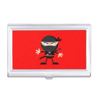 Cartoon Ninja Warrior Red Business Card Holder