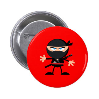 Cartoon Ninja Warrior Red Pinback Button