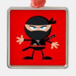 Cartoon Ninja Warrior Red Christmas Tree Ornaments