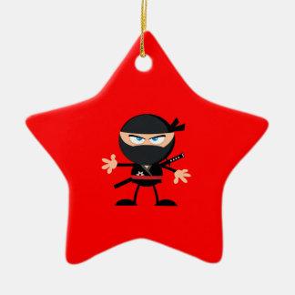 Cartoon Ninja Warrior Red Double-Sided Star Ceramic Christmas Ornament