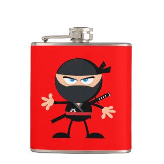 Cartoon Ninja Warrior Red Hip Flask