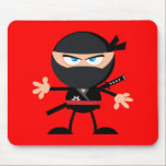 """Cartoon Ninja Warrior Red Mouse Pad<br><div class=""""desc"""">Cute round angry looking Ninja warrior cartoon against bright red. You can add a custom text message.</div>"""