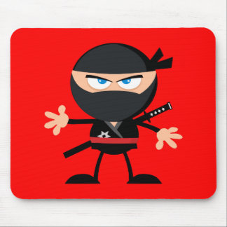 Cartoon Ninja Warrior Red Mouse Pad