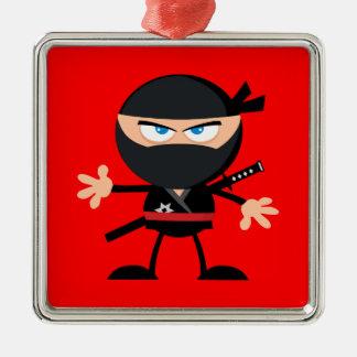 Cartoon Ninja Warrior Red Square Metal Christmas Ornament