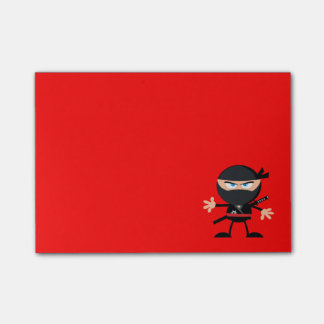 Cartoon Ninja Warrior Red Post-it Notes