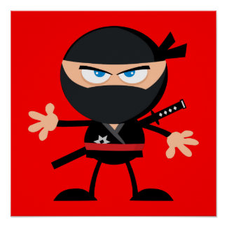 Cartoon Ninja Warrior Red Poster
